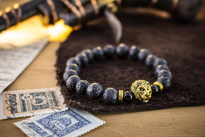 Lava stone beaded stretchy bracelet with gold Lion