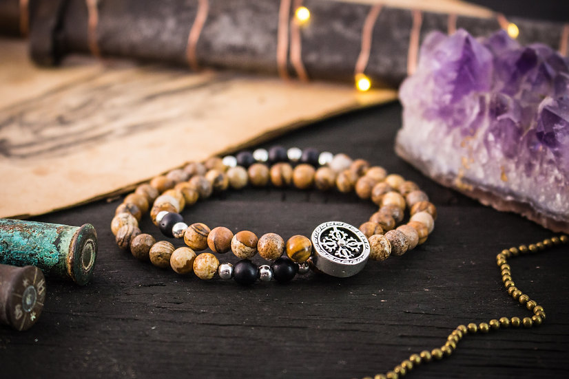 Double wrap jasper stone beaded stretchy bracelet with sterling silver accents