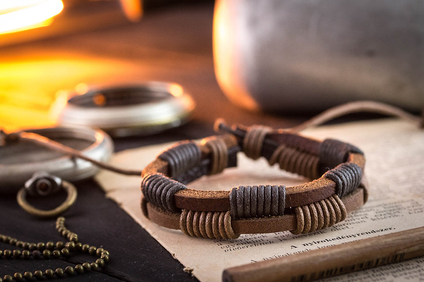 Brown genuine leather and waxed cord bracelet