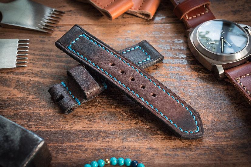 Antiqued handmade 22mm antiqued dark brown leather strap 122/86mm, for Boctok Amphibia
