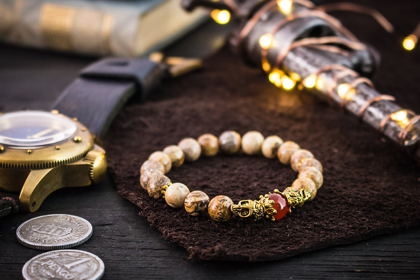 Jasper beaded stretchy bracelet with gold skull & accents