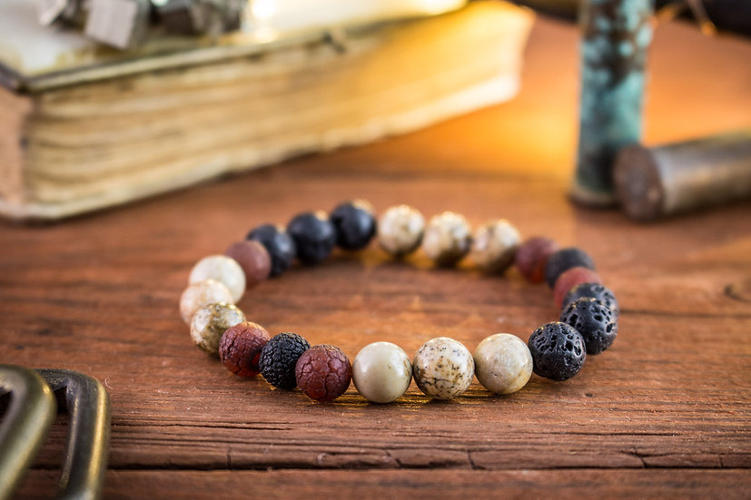 Brown jasper stone, black lava stone & dream agate beaded stretchy bracelet