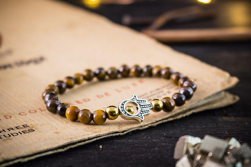Tiger eye beaded stretchy bracelet with hand of hamsa