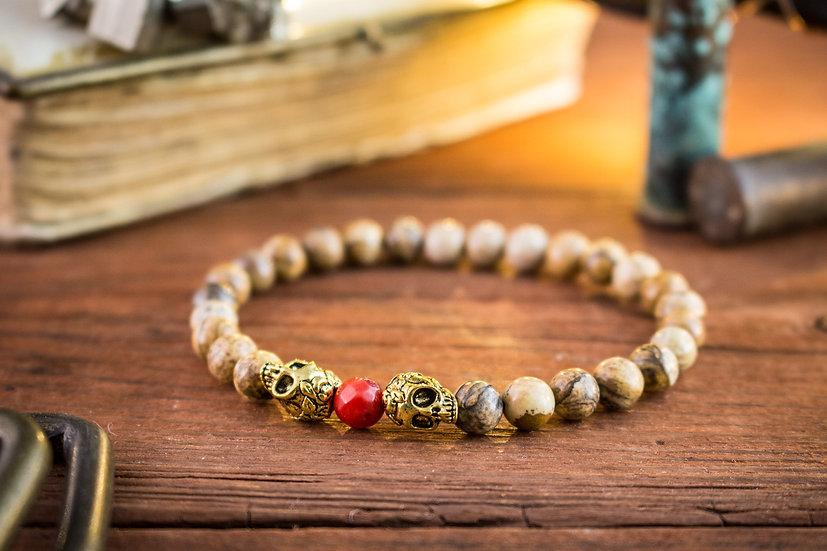 Jasper stone & coral beaded stretchy bracelet with gold skulls