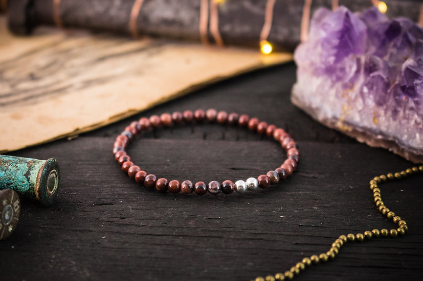 Red jasper beaded stretchy bracelet with sterling silver accents