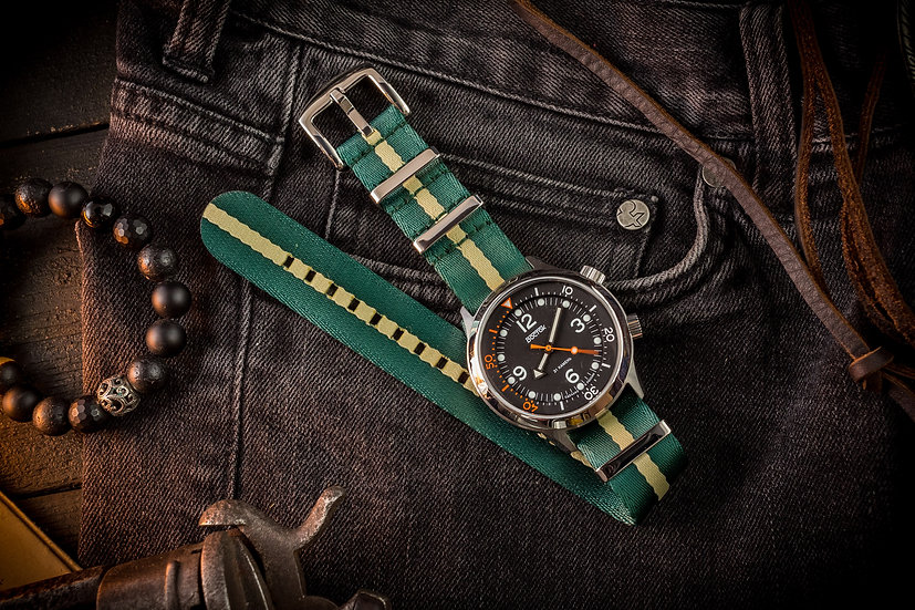 Green and Beige premium Seat Belt Nato Watch Strap