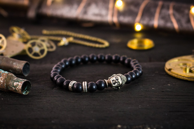 Matte black onyx beaded stretchy bracelet with silver Buddha