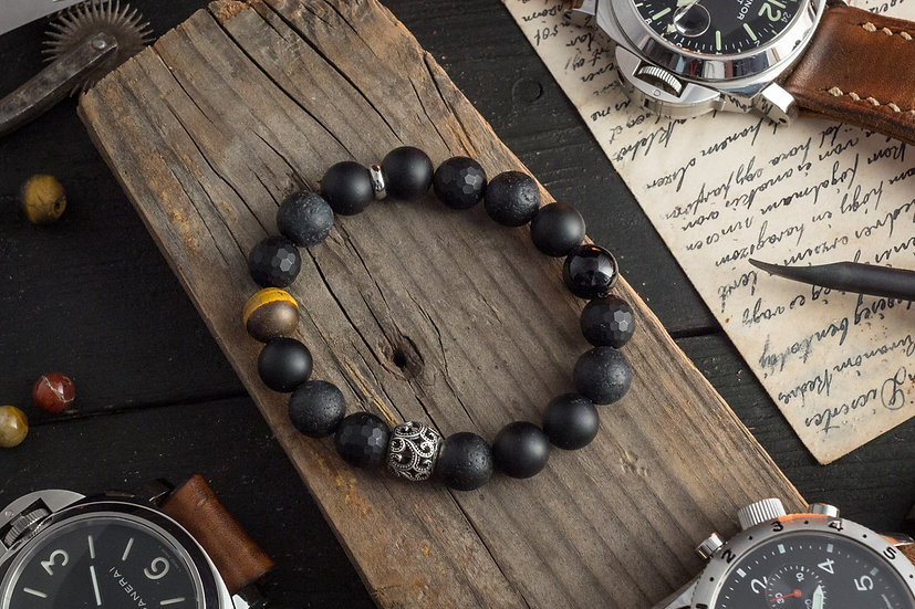 OCTOPUS III - Matte black onyx beaded stretchy bracelet with sterling silver