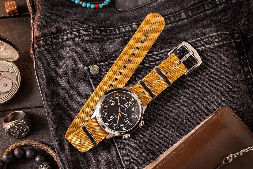 22mm Golden Yellow & Beige Woven Fabric Nato Strap