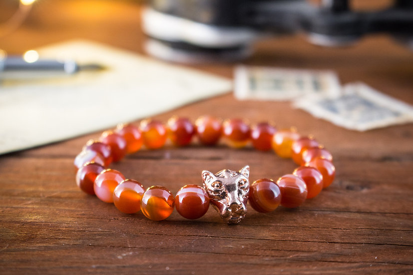 Orange agate beaded stretchy bracelet with rose gold Leopard