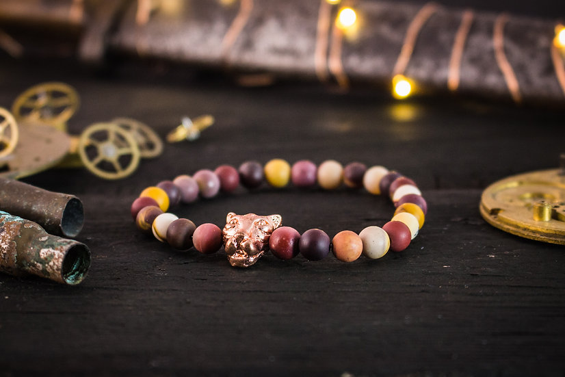 Frosted mookaite beaded stretchy bracelet with rose gold Leopard