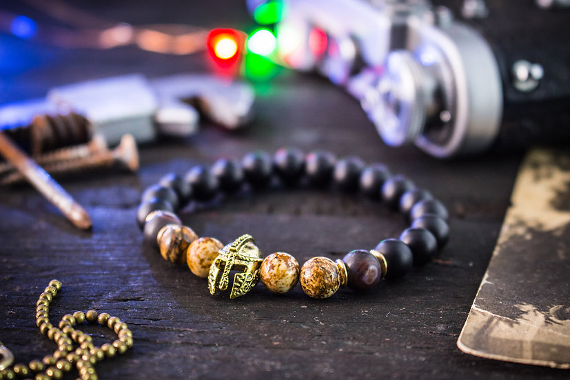 Matte black onyx & jasper beaded stretchy bracelet with spartan helmet