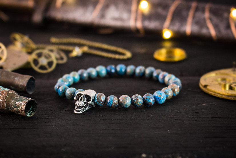Blue crazy lace agate beaded stretchy bracelet with silver skull