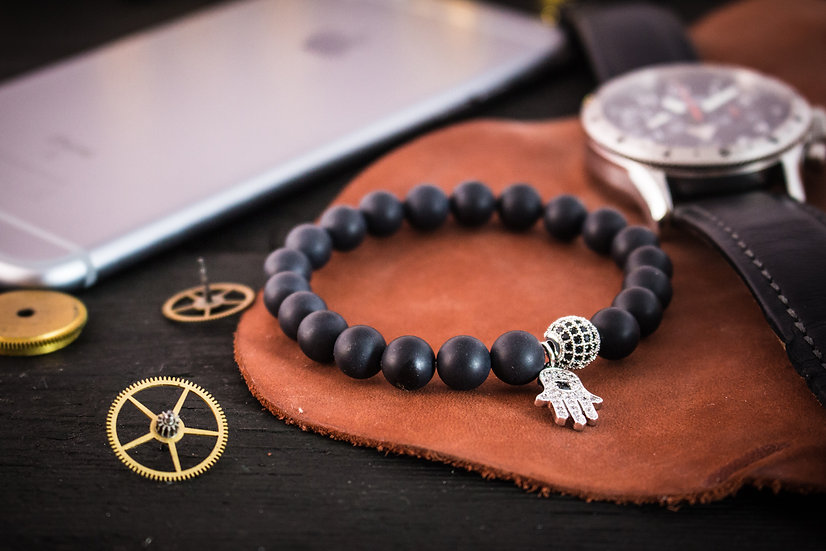 Matte black onyx beaded stretchy bracelet with silver Hamsa bead