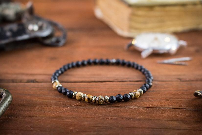Faceted matte black onyx & jasper stone beaded stretchy bracelet