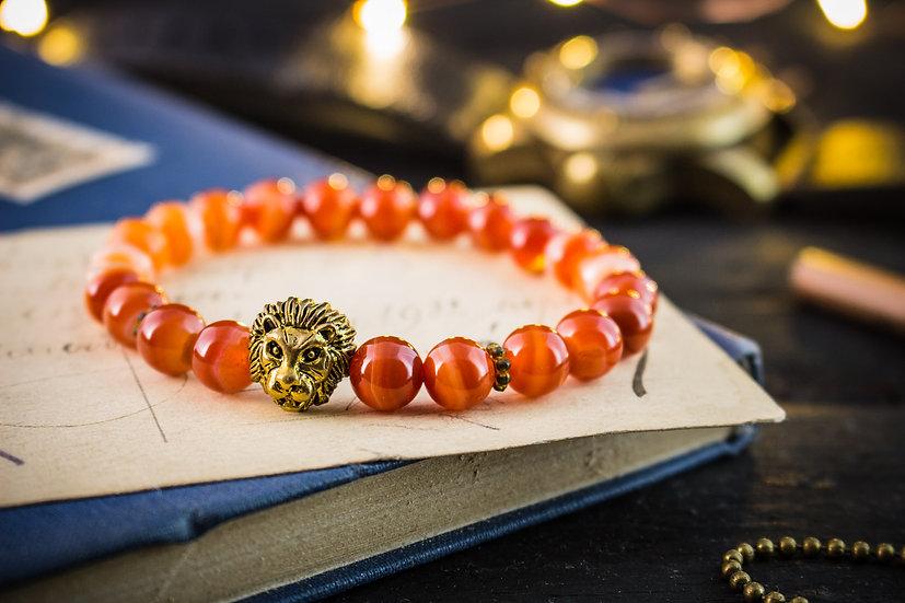 Orange agate beaded stretchy bracelet with gold lion for men