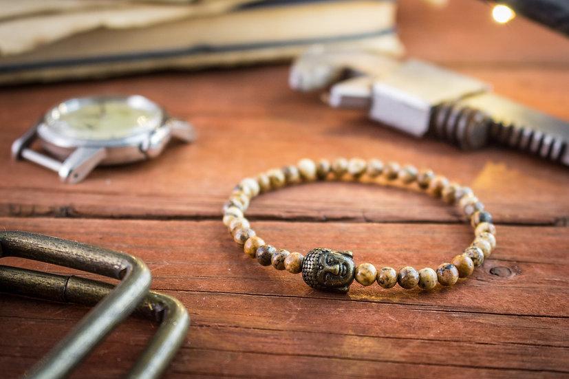 Jasper stone beaded stretchy bracelet with bronze Buddha