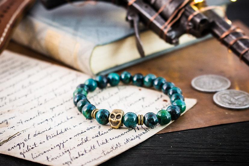 Greenish chrysocolla beaded stretchy bracelet with bronze Buddha