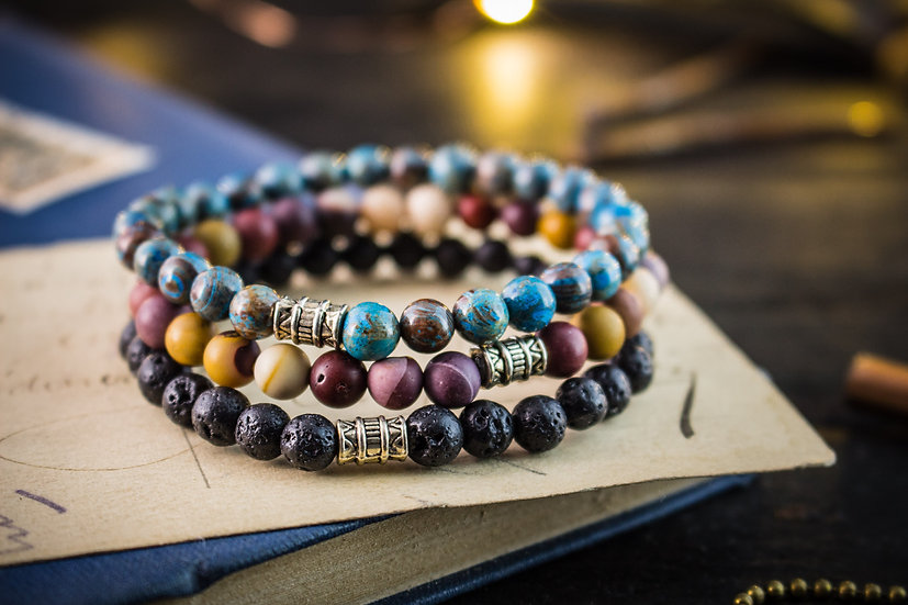 Lava stone, crazy lace agate & mookaite beaded stretchy bracelets