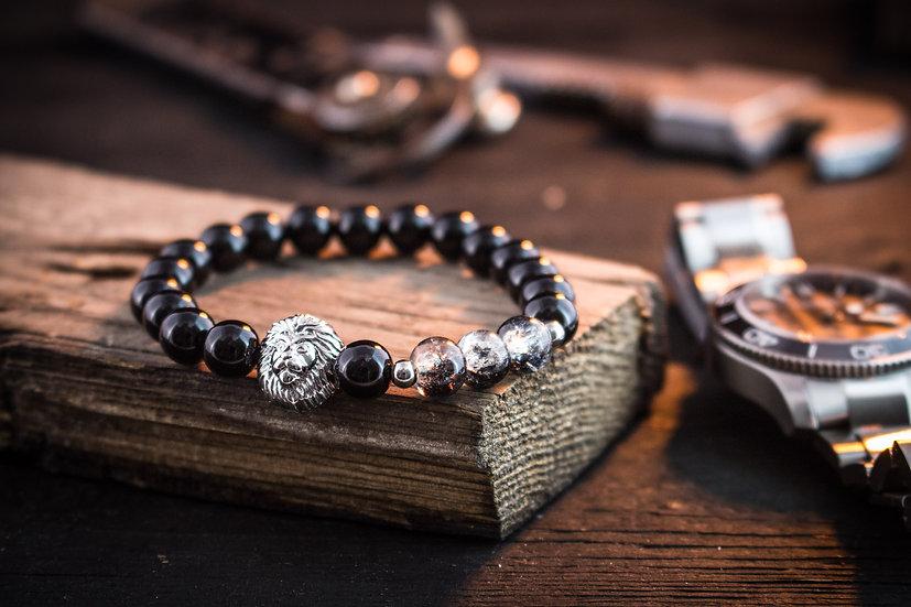 Black onyx & crackle half black beaded stretchy bracelet with silver lion