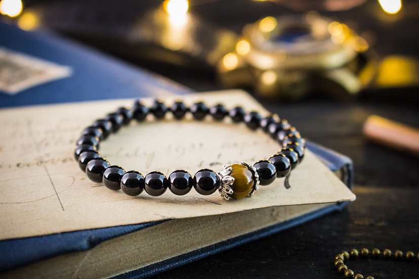 Onyx & tiger eye beaded stretchy bracelet