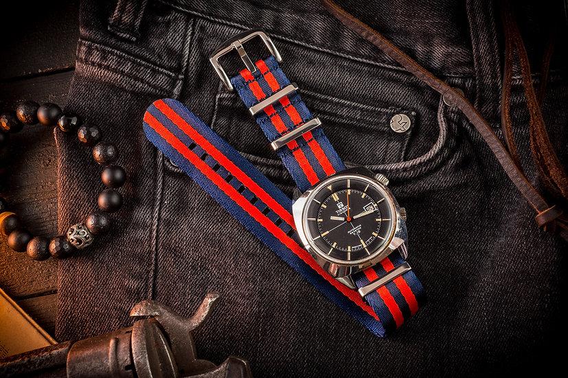 Dark Blue and Red premium Seat Belt Nato Watch Strap