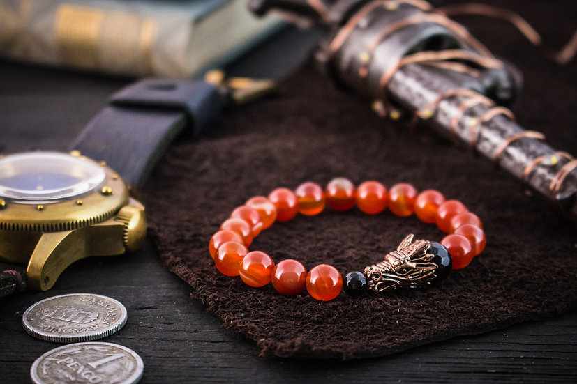 Orange agate beaded stretchy bracelet with rose gold dragon