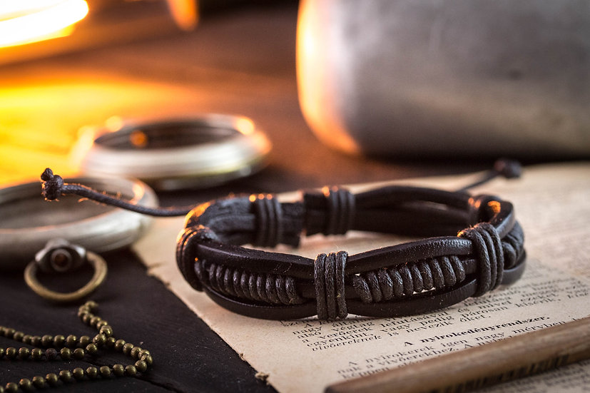 Genuine leather and black waxed cord bracelet