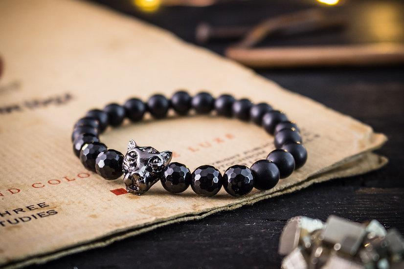 Black onyx beaded stretchy bracelet with gunmetal leopard