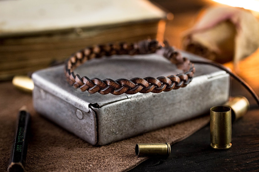 Brown genuine leather braided leather bracelet