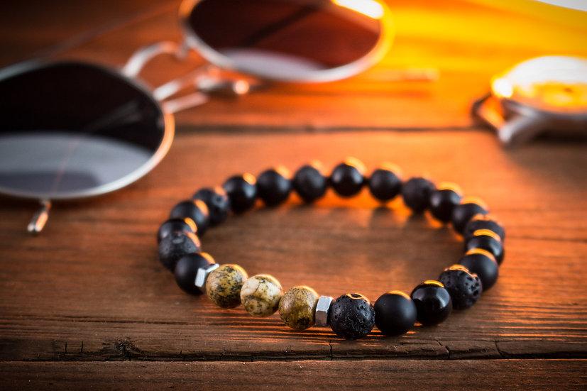 Black onyx, lava stone & jasper stone beaded stretchy bracelet