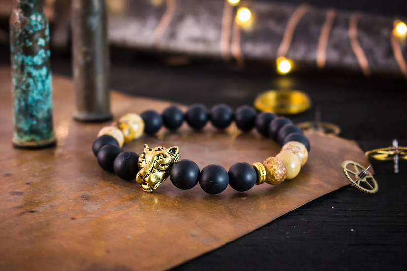 Matte black onyx, brown jasper beaded stretchy bracelet with gold Leopard