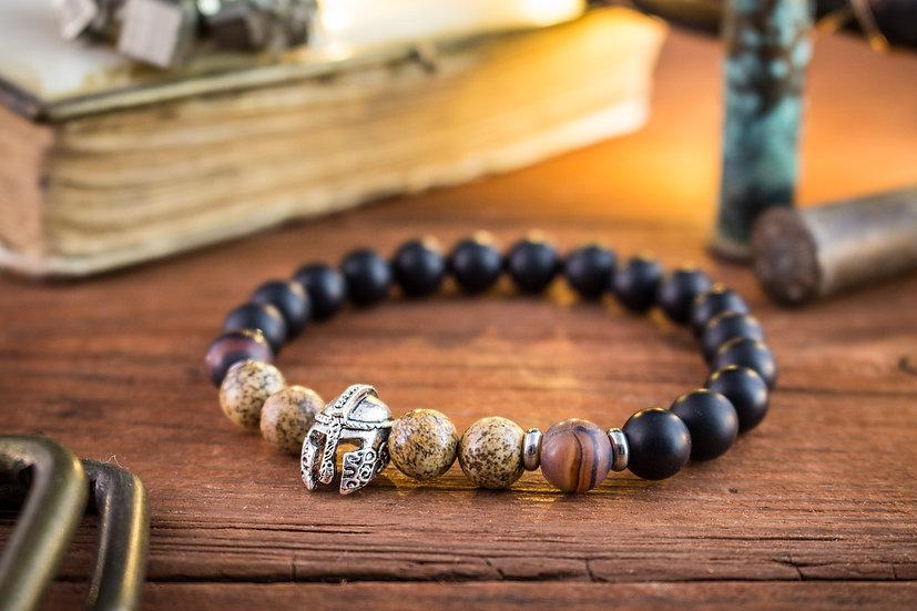 Matte black onyx & jasper beaded stretchy bracelet with silver spartan warrior helmet
