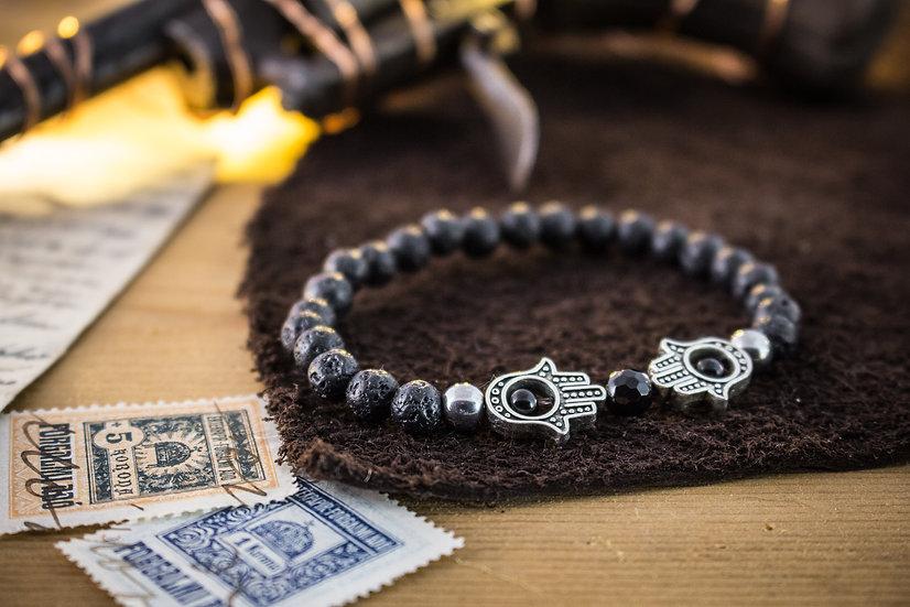 Lava stone beaded stretchy bracelet with silver Hamsa hands