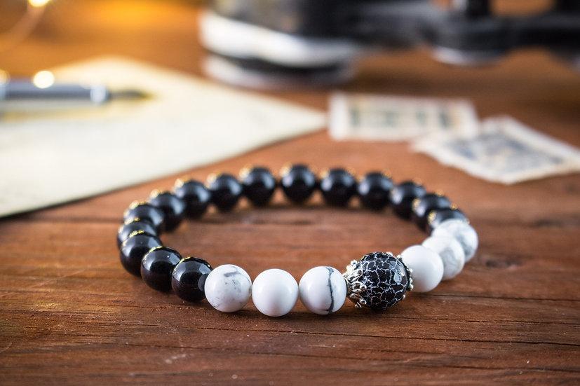 Onyx & howlite beaded stretchy bracelet