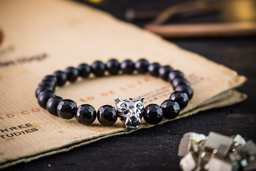 Matte black onyx beaded stretchy bracelet with silver leopard for men