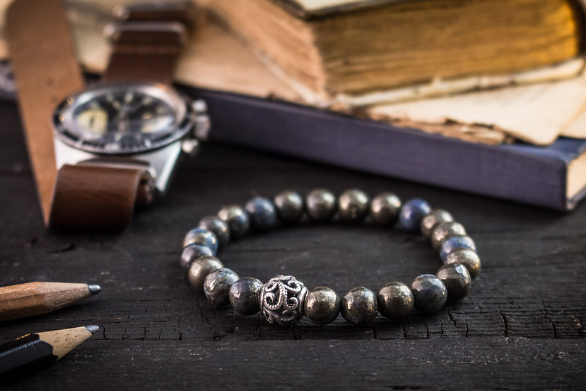 Half blue natural pyrite beaded stretchy bracelet with sterling silver bead