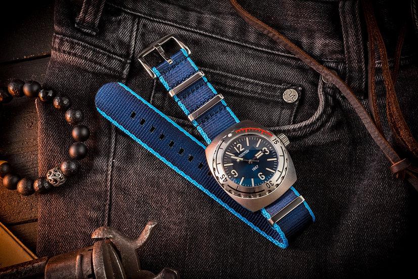 Dark and Light Blue premium Seat Belt Nato Watch Strap