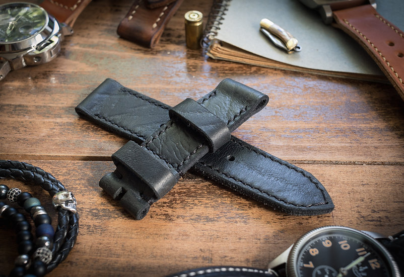 Handmade rustic 24mm black leather strap 127/80mm