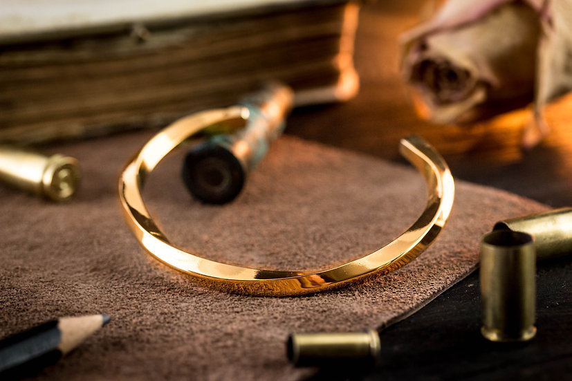 Gold plated twisted stainless steel cuff bangle men's bracelet
