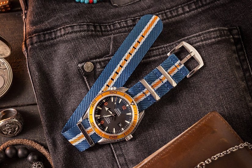22mm Monaco - Blue, White & Orange Woven Fabric Nato Strap