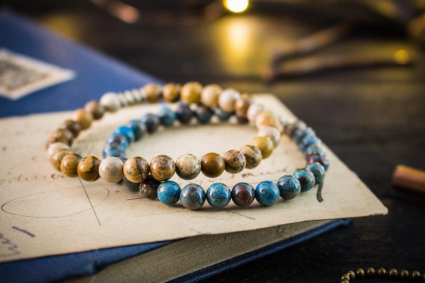 Crazy lace agate & jasper stone beaded stretchy bracelets