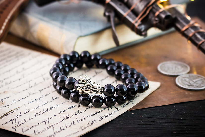 Double wrap black onyx beaded stretchy bracelet with silver dragon