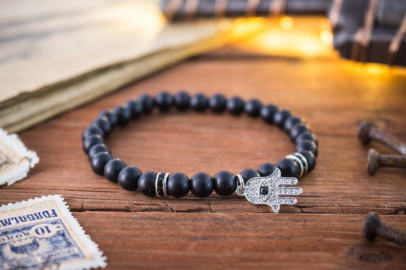 Matte black onyx beaded stretchy bracelet with silver Hamsa charm
