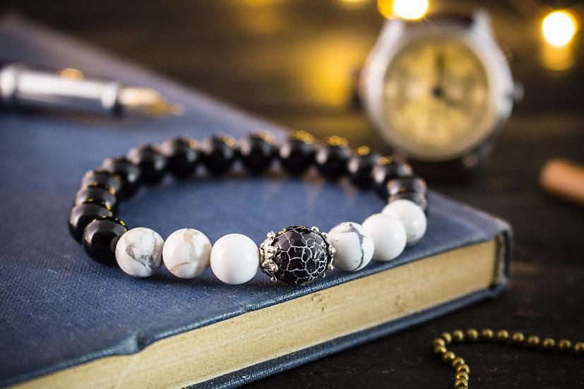 Black onyx & white howlite beaded stretchy bracelet