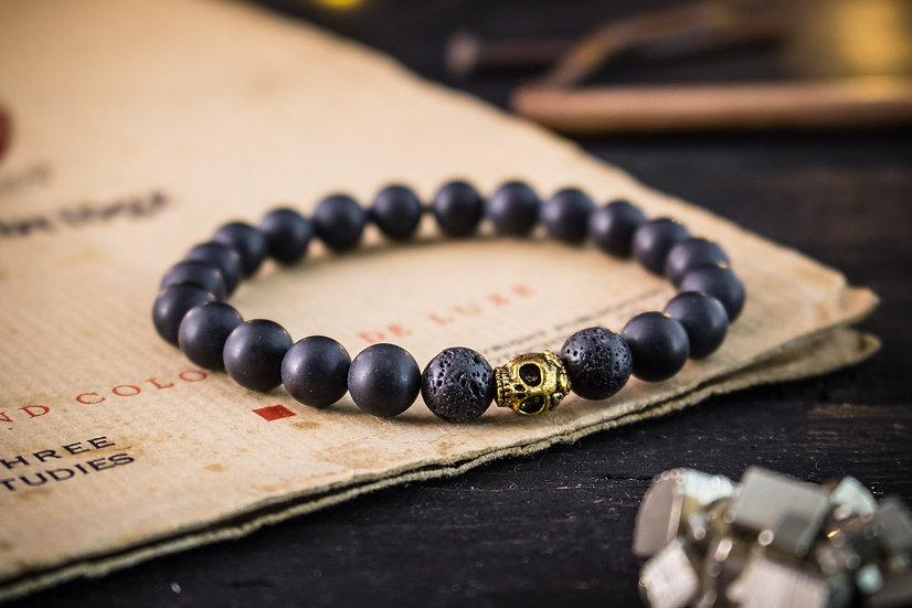 Black onyx beaded stretchy bracelet with gold skull for men