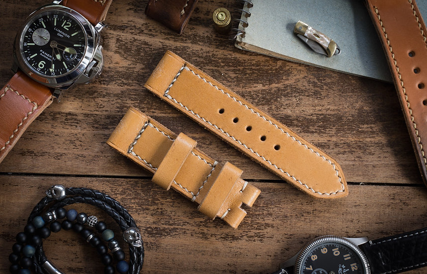 Antiqued handmade 24mm yellow brown leather strap 126/85mm