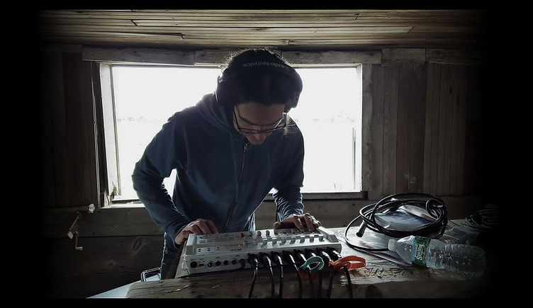 Nico Rivers working the Zoom R16 digital recorder while filming Air Traffic Controller in an abandoned hunting shack somewhere in Massachusetts for Live From Nowhere.