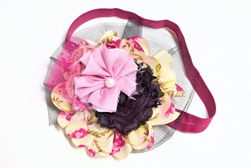 Pink and Black Floral Mix Headband - Ready to Ship - rts1
