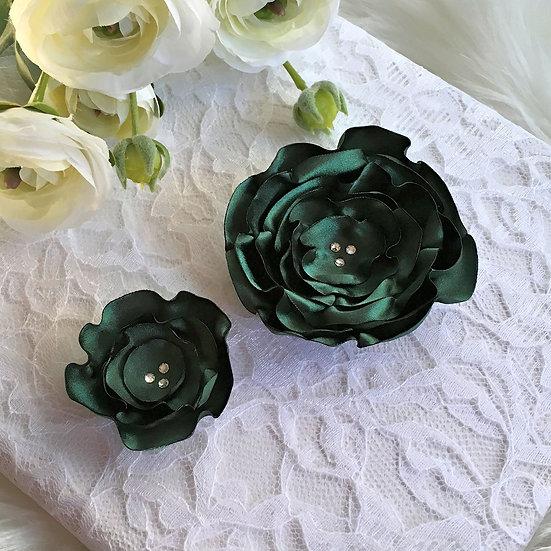 Dark Green Satin Flower Hair Clip